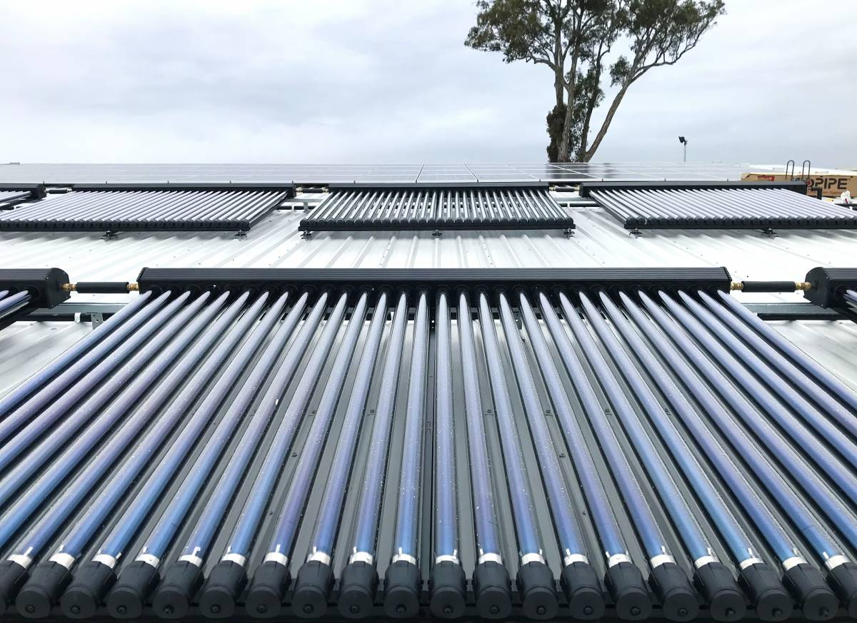 8 banks of evacuated tubes used in solar hot water applications
